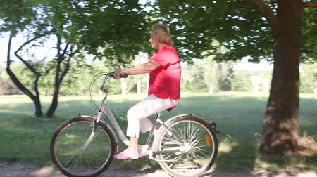 senior lifestyle : Active senior woman riding bicycle in park on sunny summer day
