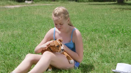 kobieta pies : Little girl owner with american staffordshire terrier puppy dog on grass Wideo