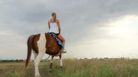 cavalinho : Young girl riding horse in field near the village
