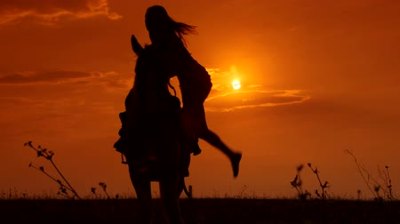 монтаж : Female rider riding horse to horizon at sunset long shot Стоковые видеозаписи