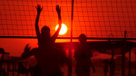 volleyball : Young people group have fun and play beach volleyball at sunset Stock Footage