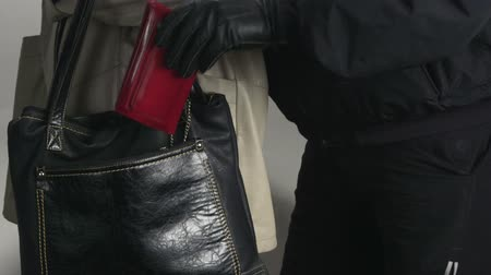 кража : Pickpocket taking wallet from a womans handbag