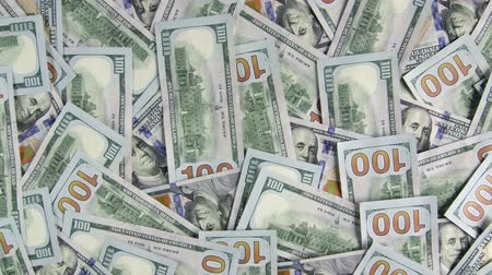 garça real : Lot of $100 american dollar bills closeup background scrolling from top to bottom Stock Footage