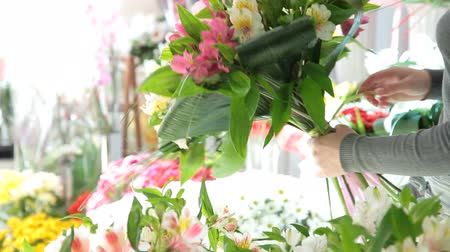 floral composition : Woman making bunch of flowers closeup Stock Footage