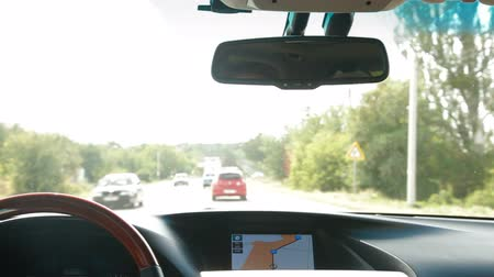 gösterge paneli : Car driving with a navigation system on the dashboard Stok Video