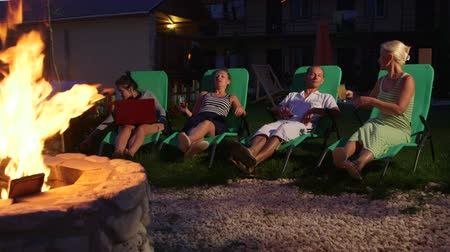 яма : Friends relaxing on grassy lawn in backyard clinking glasses with drinks near stone fire pit Стоковые видеозаписи