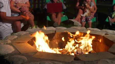 vacation : Group of people sitting on patio loungers around stone fire pit in back yard close-up