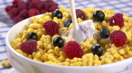 pouring : Morning breakfast pouring milk into bowl of honey stars cereal with berries slow motion closeup Stock Footage