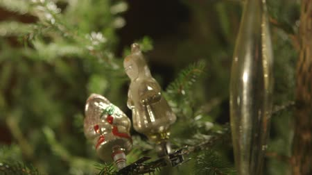 ded : Vintage russian glass christmas ornament of Snow Maiden and Santa Claus