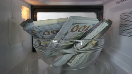 lucros : Stacks of dollars hidden in a microwave spinning inside oven
