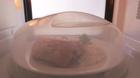 reheat : Plate with crispy pan fried chicken leg and rice garnish covered with microwave cover reheating in the microwave oven. Stock Footage