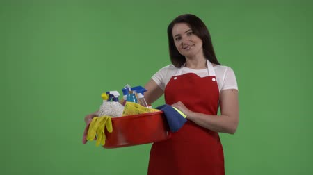houseclean : House cleaning service worker or housewife with washing fluids and rags against green screen. Cheerful woman holding cleaning tools and products in washbowl looking directly at the camera.