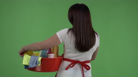 houseclean : Rear view of cleaning service worker or housewife with cleaning supplies against green screen. Woman holding washing tools and products in washbowl. Stock Footage