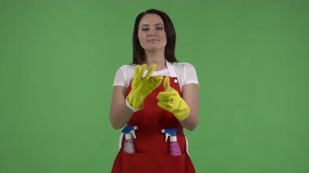 houseclean : Serious housewife in protective gloves holding spray bottles ready for cleaning against green screen. Woman as house cleaning service worker or housemaid looking directly at the camera. Stock Footage