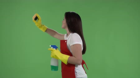 cleaning equipment : Woman making gestures as though cleans a window against green screen. House cleaning service worker or housewife in protective gloves with rag and cleanser spray. Stock Footage