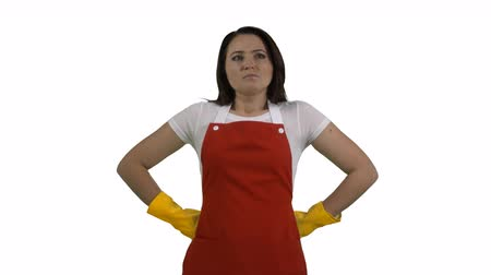 houseclean : Woman as house cleaning service worker or housewife pulling on rubber gloves ready for cleaning isolated on white background. 4k footage PNG with alpha channel