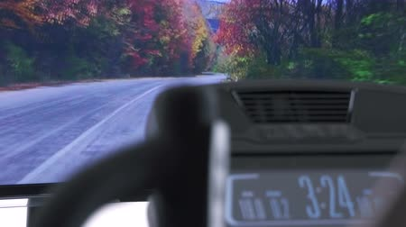 elliptical : POV of elliptical cardio workout in front of the television. TV screen displaying mountain road through the autumn forest making you feel like you are exercising outside.