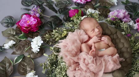 first person : The newborn boy sleeps in the photo zone with flowers and catches his eyes for a moment