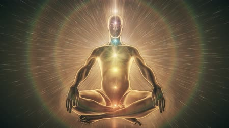alma : Man sitting in meditation pose surrounded by golden light. Chakra Activation connecting to Source Light behind him, aligning with his heart chakra.