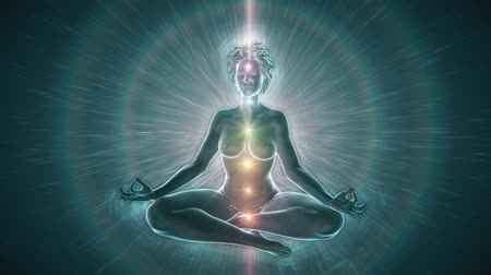alma : Woman sitting in meditation pose surrounded by white light. Chakra Activation connecting to Source Light behind her, aligning with her Heart Chakra.