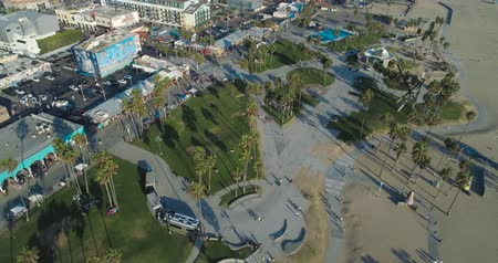 skate : Aerial Drone View of Venice Skate Park in Los Angeles, California
