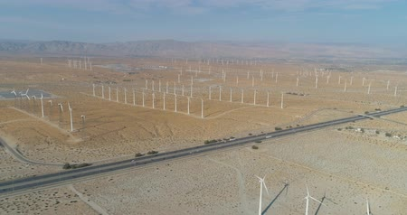 molas : Aerial Drone View of Windmills in Palm Springs, California