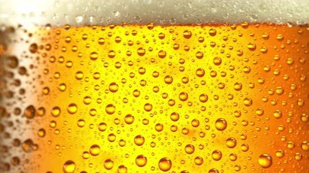 quartilho : Glass of beer. Close up 4K video. Black background.