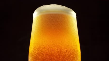 Glass of beer. Beer bubbles rise to the beer foam. Black background. Close up 4K video.