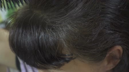 cabelos grisalhos : Woman combing gray hair with dandruff comb close up.
