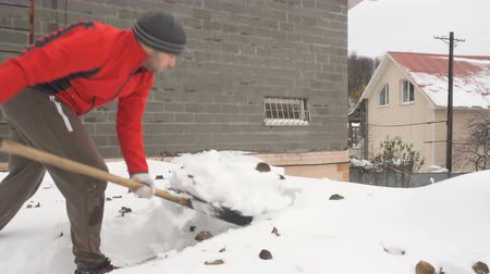 deep snow : Man with a shovel removing snow from a roof. Caucasian men using to shovel heavy snow off roof. People with plastic shovel tool push clean snow from roof.