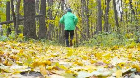 uzun : Sport Man jogging cross country running. Training and exercising outdoors when cross country running in inspirational autumn landscape. Sports Motivation. Stok Video