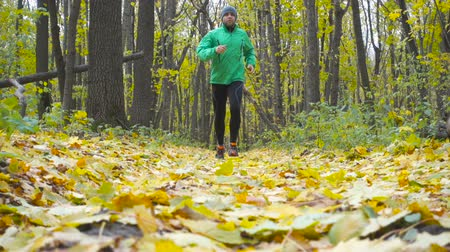 uzun : Sport Man jogging cross country running. Training and exercising outdoors when cross country running in inspirational autumn landscape. Sports Motivation. Slow Motion.