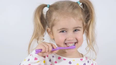 escova de dentes : Cute little girl with pigtails diligently brushing his teeth. In the hand of the girl has toothbrush. Cheerful girl looking into the camera.