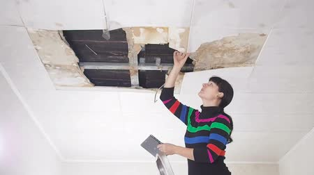 повреждение : young woman makes an emergency inspection of ceiling and use Tablet PC. public utilities. Ceiling panels damaged huge hole in roof from rainwater leakage.Water damaged ceiling, Insurance agent.