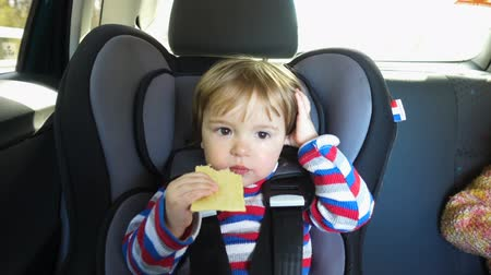 ülés : Happy Toddler boy in the car eating cookies, sitting on childs car seat. Stock mozgókép