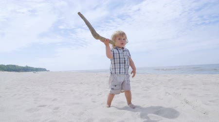 hurl : Adorable little 2 year old boy is playing on the beach. The kid raises a large stick and throws it. Slow motion
