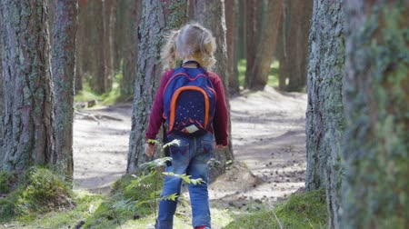 perdido : Little girl travels through forest. Child with a backpack. Hiking outdoors on nature. Enjoying Nature at Camping.