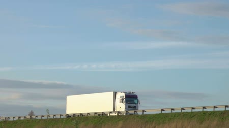 улица : Cargo truck travel on inter city highways. International cargo transportation. Truck car drives through the bridge.