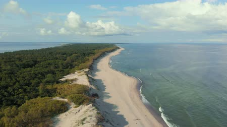 baltské moře : Video from above, aerial view of a beautiful Wild Island. Aerial view. 4K UHD. Flying on a drone in wild along coast. Epic view. Aerial top view of summer green trees in forest. Seascape at sea coast