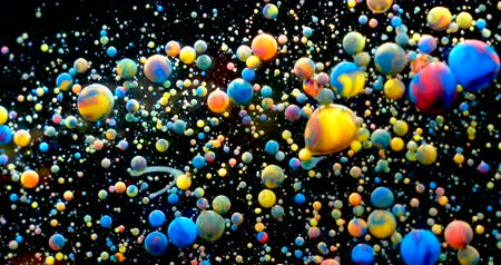atom : Slow Motion Bright Colors Bubbles Oil Beautiful Paint Universe Color Moving Multicolored Closeup. Acrylic Paint. Fantastic Surface. Abstract Colorful Paint Metamorphosis Structure Colorful Bubbles