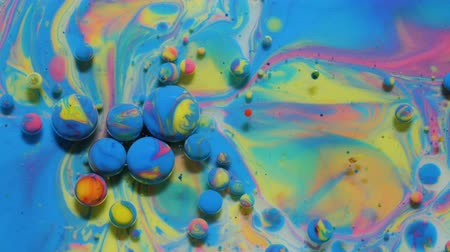 gravitace : Slow Motion Bright Colors Bubbles Oil Beautiful Paint Universe Color Moving Multicolored Closeup. Acrylic Paint. Fantastic Hypnotic Surface. Abstract Colorful Paint Metamorphosis Structure Colorful Bubbles