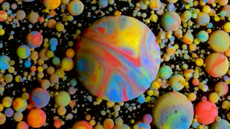 planet : Slow Motion Bright Colors Bubbles Oil Beautiful Paint Universe Color Moving Multicolored Close Up. Acrylic Paint. Fantastic Hypnotic Surface. Abstract Colorful Paint Metamorphosis Structure Bubbles Stock Footage