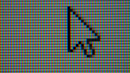 kurzor : Moving Arrow Cursor Computer Pointer. Pixels LCD monitor. Real Macro Video. Mouse Pointer Arrow For Computer Screen. Close up Dostupné videozáznamy