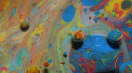 marbling : Colorful Bright Bubbles Oil Beautiful Paint Universe Color Moving Multicolored. Acrylic Paint. Space Universe, Quantum Physics. Fantastic Hypnotic Surface. Metamorphosis Chemical Reaction.