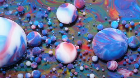 gravitace : Abstract Pattern Chemical Reaction Texture Liquid Paint Motion Bubble In Water Color Blue. Colorful Bubbles In Beautiful Universe Multicolor. Space Universe, Fantastic Hypnotic Surface. Closeup.