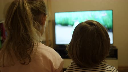 family watching tv : Little Kids While Watching TV. Children Watch Television on Living Room. Concept Video Game, Entertainment, Emotions, Family. Children Sister and Brother Watching TV, Back View.