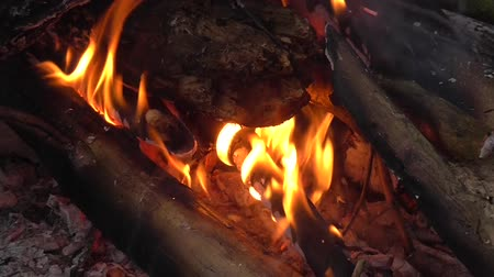 open hearth : Close up of fire burning