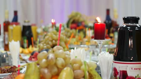 repast : A festive table covered with a variety of delicious dishes Stock Footage