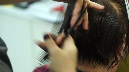 saç kremi : Hairdresser combs and cuts her hair Stok Video
