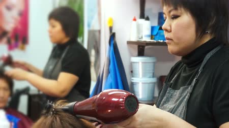 barber equipment : Stylist makes styling easier Stock Footage
